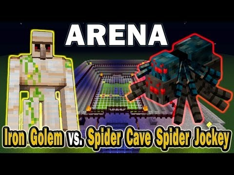 Minecraft Arena Battle Iron Golem vs. Spider Cave Spider Jockey