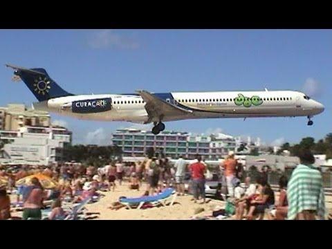straordinari atterraggi a ridosso della spiaggia - maho beach st maarten