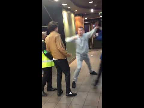 Drunk gets knocked out in a London McDonalds