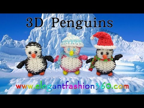 Rainbow Loom Penguin 3D Charms – How to Loom Bands Tutorial Christmas/Holiday/Winter/Animal