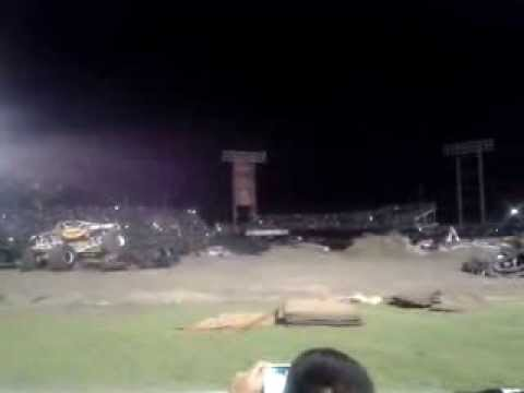 Monster truck almost takes out a crowd