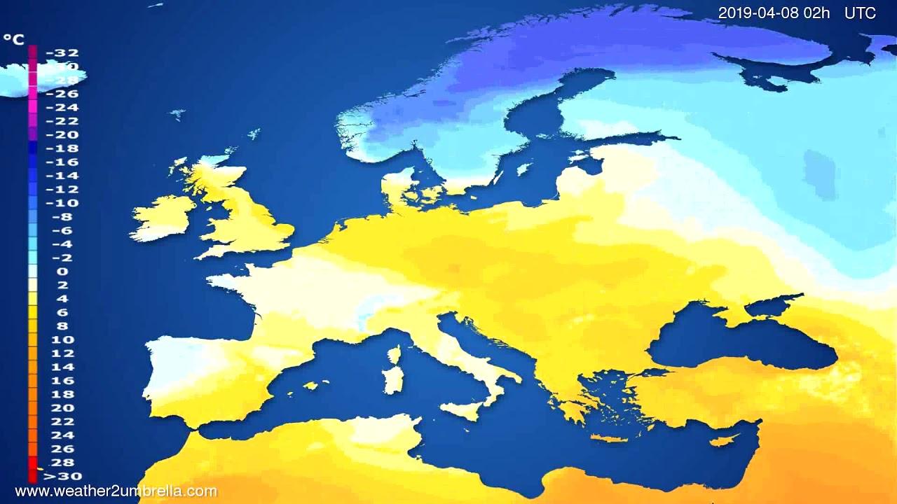 Temperature forecast Europe // modelrun: 12h UTC 2019-04-05