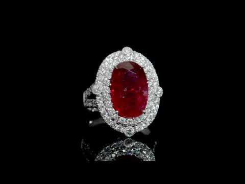 EGL Certified 7.24ct Oval Cut Natural Ruby and Diamond Ring