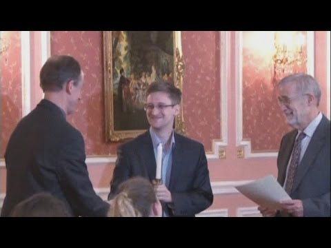 New Edward Snowden video: WikiLeaks release rare footage of Snowden in Russia collecting award