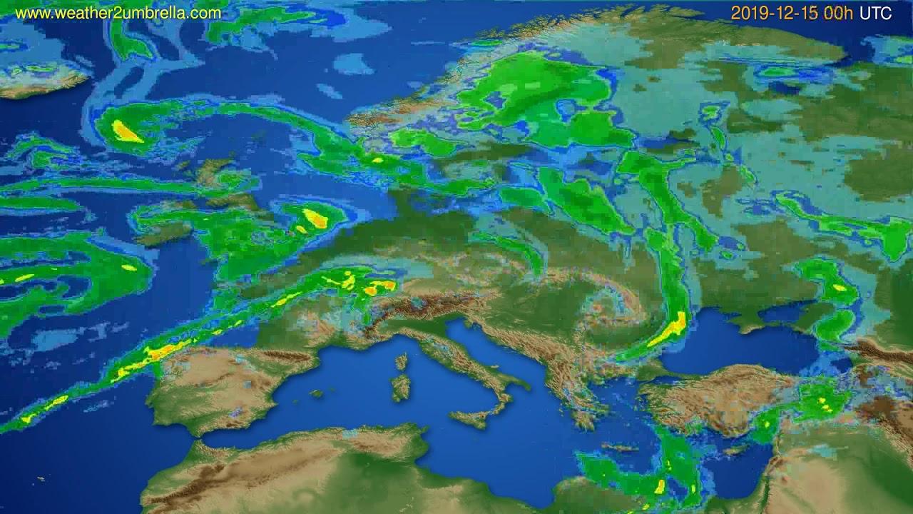 Radar forecast Europe // modelrun: 12h UTC 2019-12-14