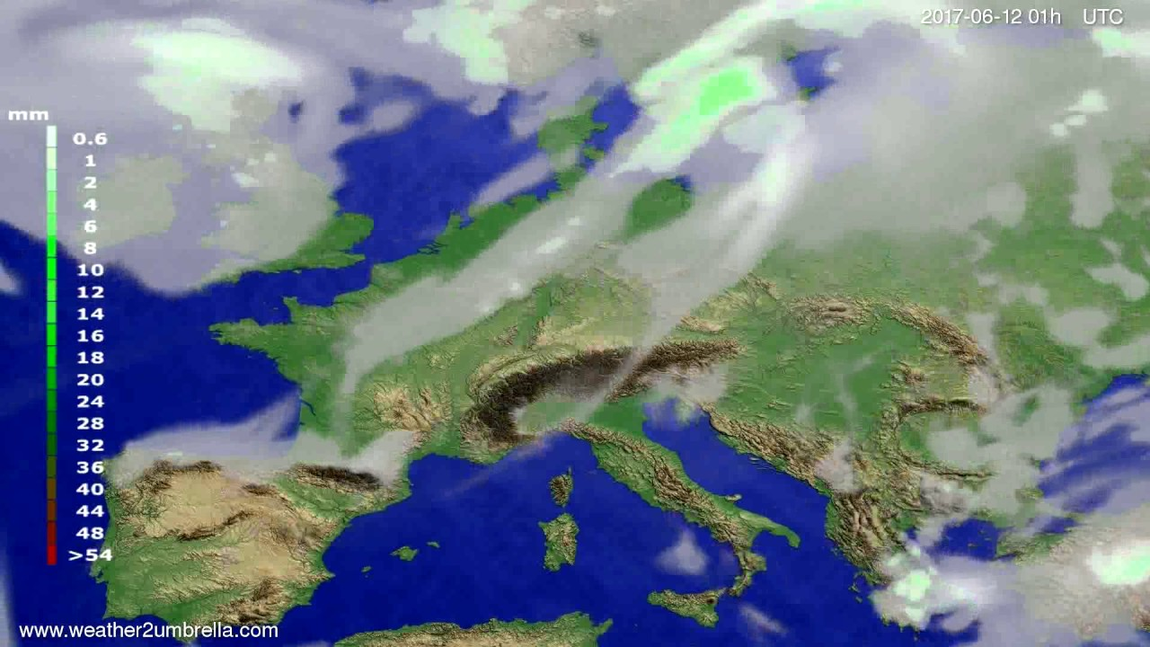 Precipitation forecast Europe 2017-06-09