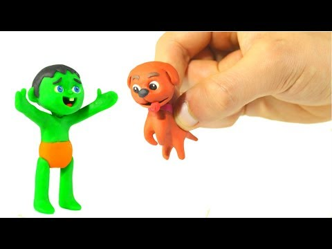 THE LITTLE DOGGY GETS LOST ❤ SUPERHERO PLAY DOH CARTOONS FOR KIDS