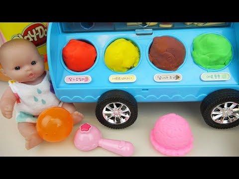 Baby Doll and play doh IceCream car toys