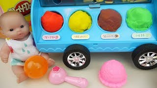 Baby Doll and play doh IceCream car toys
