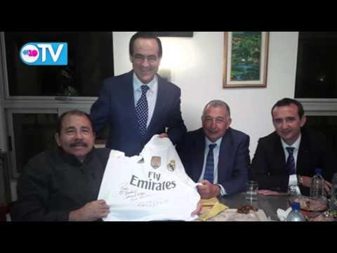 Presidente Daniel se reúne con ex-presidente del parlamento español y empresarios
