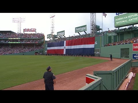 LAA@BOS: Dominican national anthem plays for Ortiz