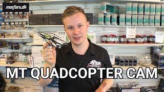 MT Quadcopter CAM er en fjernstyret drone med indbygget kamera. Der medfølger 4GB microSD kort og USB læser i pakken.