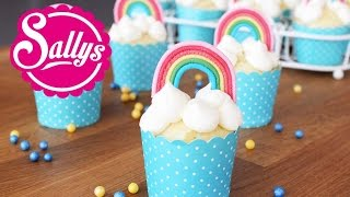 Regenbogenmuffins muffins mit regenbogen dekoration aus for Regenbogen dekoration