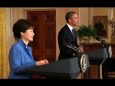 south - President Obama and President Park Geun-Hye of South Korea hold a joint press conference in the East Room of the White House. May 7, 2013.