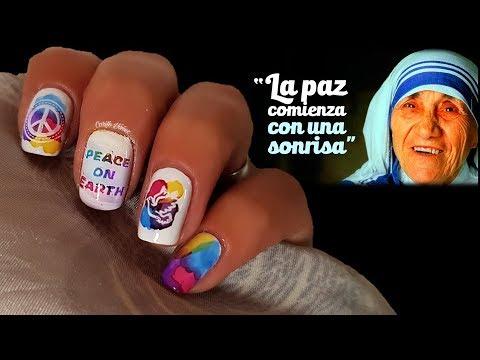 Diseños de uñas - #DIADELAPAZMUNDIAL DISEÑO DE UÑAS PAZ MUNDIAL COLAB #NAILSUNIDAS