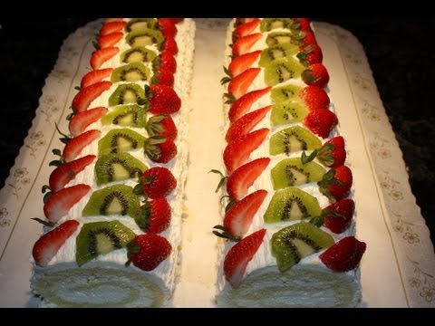 Rollet, roulette or roll cake recipe and decoration