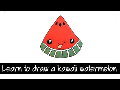How to draw a kawaii watermelon - learn to draw Kawaii food
