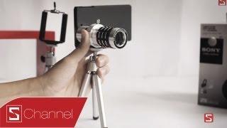Schannel - Giới thiệu Lens zoom 12x dành cho Xperia Z, Tripod dành cho các smartphone - CellphoneS