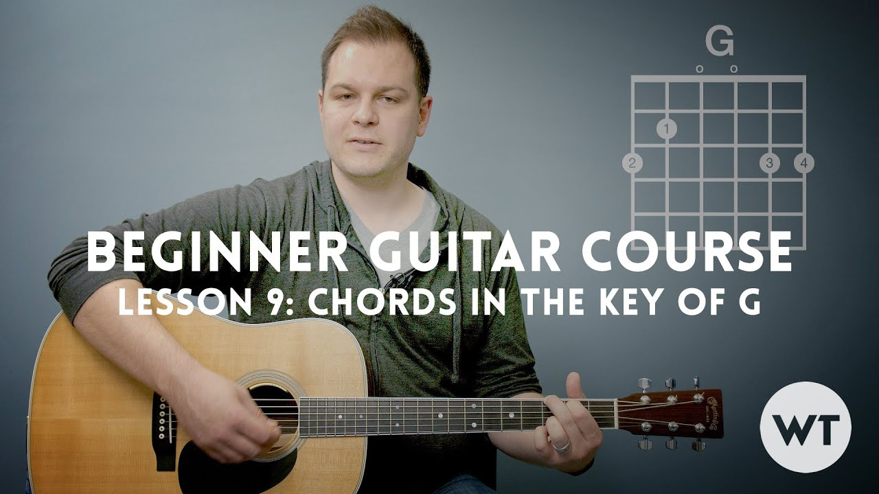 How to play chords in the key of G – Beginner Guitar Lesson Course