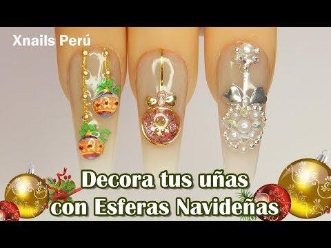 Diseños de uñas - Uñas con Esferas de Navidad 3 opciones para realizarlas / Xnails Peru