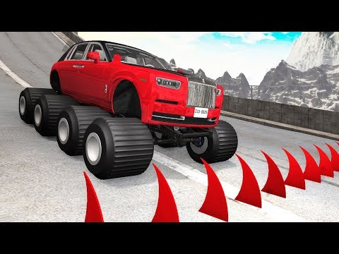 Big Spikes vs Car Tires #1 - Beamng drive