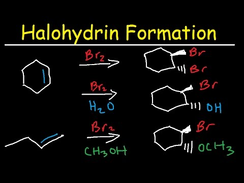 Halohydrin Formation - Alkene Reaction Mechanism, Addition Of Halogens - Br2 & Water - H2o