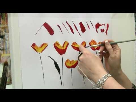 Acrylmalen: Malen lernen, Übungen zur Mohnblume/ Acrylic painting Tutorial Demo, floral painting