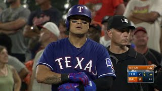 Shin-Soo choo smacks a single to center field, bringing home two runs to cut the Rangers' deficit to 9-7 in the 9th inningCheck out http://MLB.com/video for more!About MLB.com: Former Commissioner Allan H. (Bud) Selig announced on January 19, 2000, that the 30 Major League Club owners voted unanimously to centralize all of Baseball's Internet operations into an independent technology company. Major League Baseball Advanced Media (MLBAM) was formed and charged with developing, building and managing the most comprehensive baseball experience available on the Internet. In August 2002, MLB.com streamed the first-ever live full length MLB game over the Internet when the Texas Rangers and New York Yankees faced off at Yankee Stadium. Since that time, millions of baseball fans around the world have subscribed to MLB.TV, the live video streaming product that airs every game in HD to nearly 400 different devices. MLB.com also provides an array of mobile apps for fans to choose from, including At Bat, the highest-grossing iOS sports app of all-time. MLB.com also provides fans with a stable of Club beat reporters and award-winning national columnists, the largest contingent of baseball reporters under one roof, that deliver over 100 original articles every day. MLB.com also offers extensive historical information and footage, online ticket sales, official baseball merchandise, authenticated memorabilia and collectibles and fantasy games.Major League Baseball consists of 30 teams split between the American and National Leagues. The American League consists of the following teams: Baltimore Orioles; Boston Red Sox; Chicago White Sox; Cleveland Indians; Detroit Tigers; Houston Astros; Kansas City Royals; Los Angeles Angels ; Minnesota Twins; New York Yankees; Oakland Athletics; Seattle Mariners; Tampa Bay Rays; Texas Rangers; and Toronto Blue Jays. The National League, originally founded in 1876, consists of the following teams: Arizona Diamondbacks; Atlanta Braves; Chicago Cubs; Cincinnati Reds; Colorado Rockies; Los Angeles Dodgers; Miami Marlins; Milwaukee Brewers; New York Mets; Philadelphia Phillies; Pittsburgh Pirates; San Diego Padres; San Francisco Giants; St. Louis Cardinals; and Washington Nationals.Visit MLB.com: http://mlb.mlb.comSubscribe to MLB.TV: http://mlb.tvDownload MLB.com At Bat: http://mlb.mlb.com/mobile/atbatDownload MLB.com Ballpark: http://mlb.mlb.com/mobile/attheballparkDownload MLB.com Clubhouse: http://mlb.com/clubhousePlay Beat The Streak: http://mlb.mlb.com/btsGet MLB Tickets: http://mlb.mlb.com/ticketsGet Official MLB Merchandise: http://mlb.mlb.com/shopConnect with us:YouTube: http://youtube.com/MLB Facebook: http://facebook.com/mlbInstagram: http://instagram.com/mlbTwitter: http://twitter.com/mlbPinterest: http://pinterest.com/mlbofficialTumblr: http://mlb.tumblr.comGoogle+: http://plus.google.com/+MLB