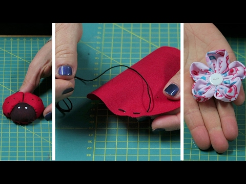 Cucito creativo tutorial - fiore e coccinella in stoffa - Punto filza