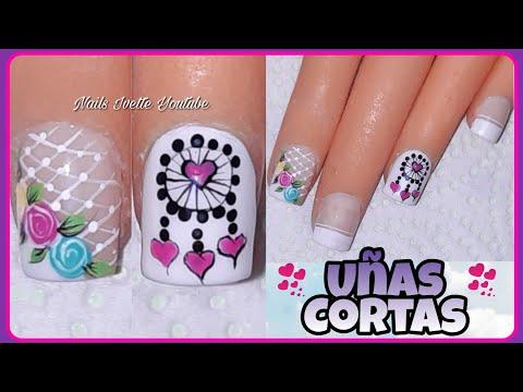 Uñas decoradas - Decoración para UÑAS CORTAS/Uñas cortas decoradas/Diseño para uñas cortas/decoración de uñas rosas
