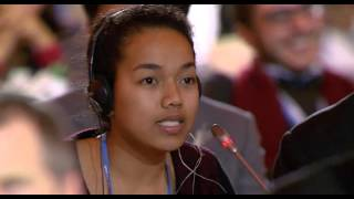 In the final plenary of the Paris climate talks, the Minister of Foreign Affairs from the Marshall Islands turned over the microphone to an 18 year old from ...