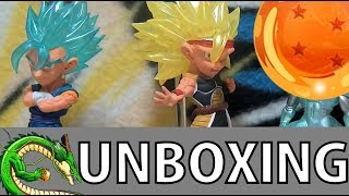 Déballage de quatre figurines de la gamme Dragon Ball Super 05 UG Ultimate Grade, à savoir : - Vegetto en Super Saiyajin...