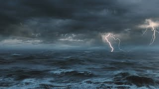 ⚡️ Thunderstorm At Sea Sounds For Sleeping, Relaxing ~ Thunder Rain Ocean Sea Lightning Ambience