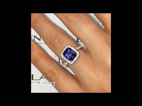 3.65 ct Cushion Sapphire Halo Cathedral Engagement Ring