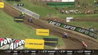 Febvre passes Tixier after battle MXGP of Czech Republic 2017.