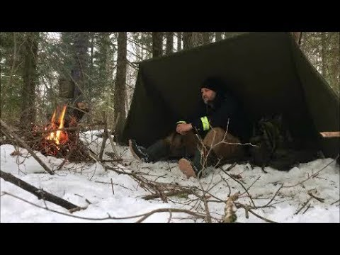 Solo Winter Bushcraft Canvas Tarp Setup