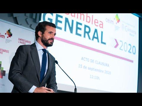 Pablo Casado interviene en la clausura de la Asamblea General de CEIM 2020