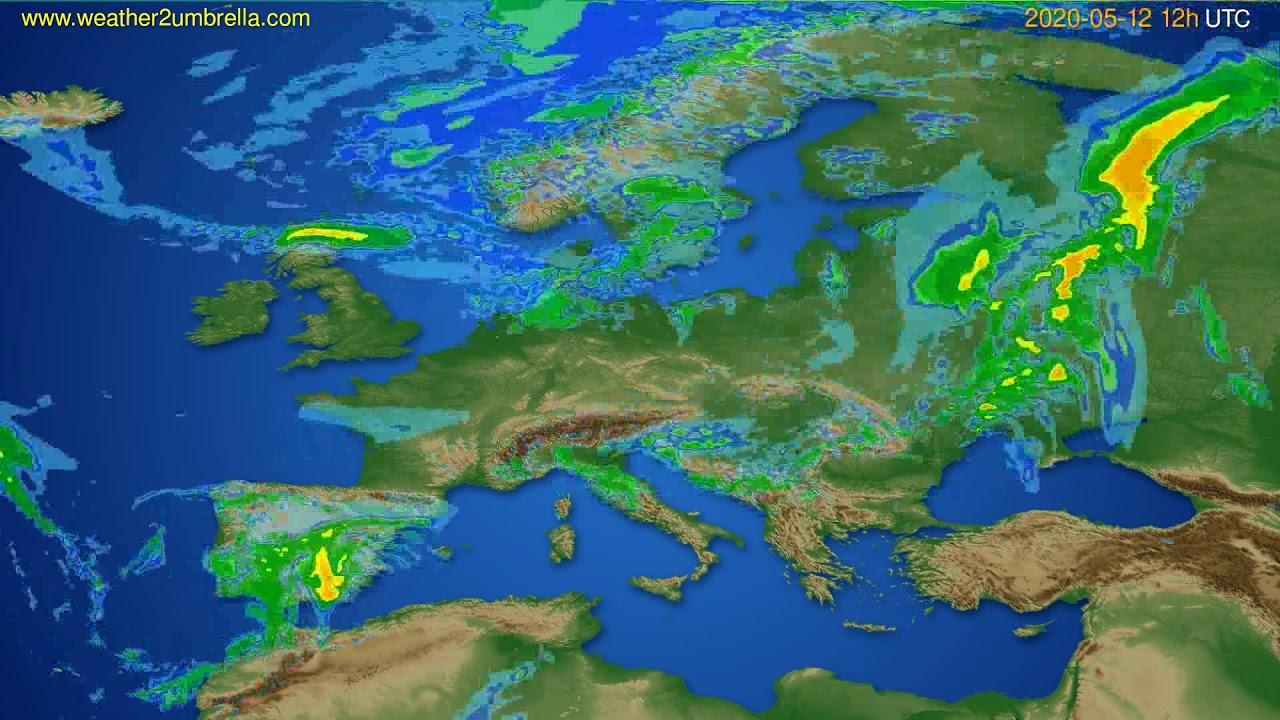 Radar forecast Europe // modelrun: 00h UTC 2020-05-12