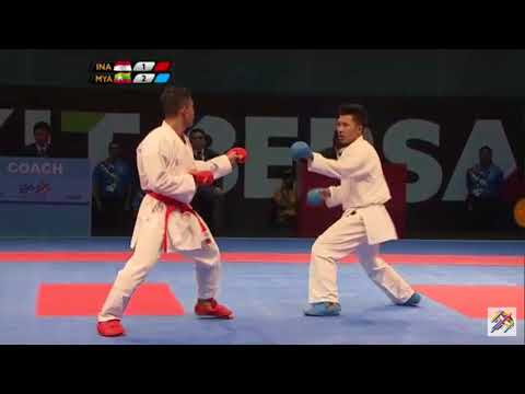 INDONESIA MENANG VS MYANMAR KARATE MALE BELOW 75 KG SEA GAMES 2017