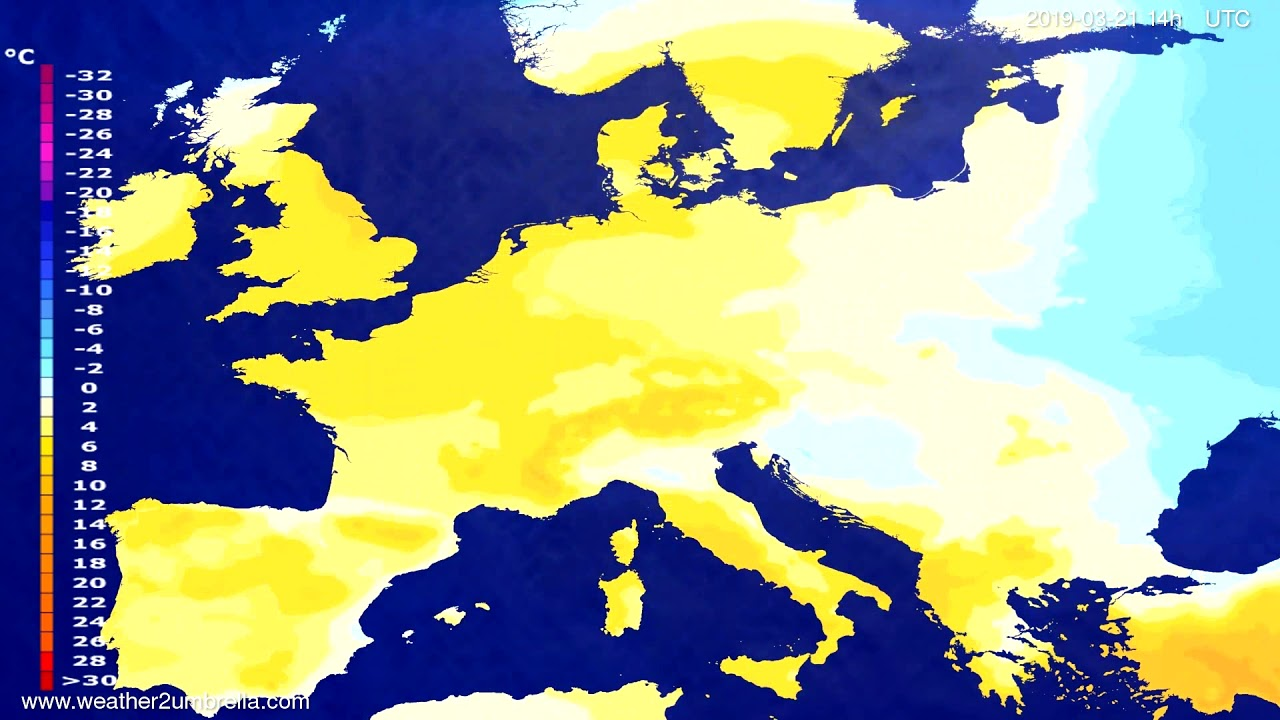 #Weather_Forecast// Temperature forecast Europe 2019-03-19