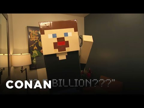 celebrates - CONAN Highlight: When Microsoft bought the blocky game, there was only one way for its inventor to celebrate. More CONAN @ http://teamcoco.com/video Team Coc...