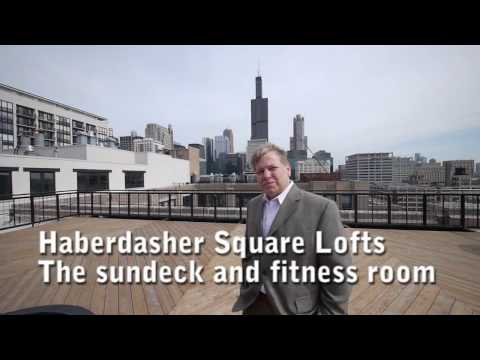 Haberdasher Square Lofts' sundeck and fitness center