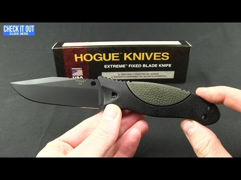 "Hogue Knives EX-F02 Clip Point Fixed Blade OD Green (4.5"" Black) 35251"