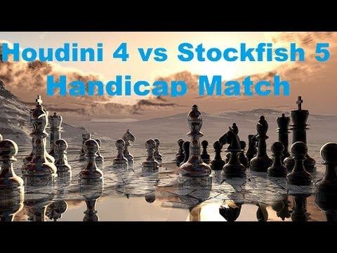 Houdini 4 vs Stockfish 5 Handicap Match Game 1