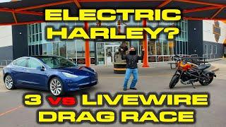 FIRST ELECTRIC HARLEY 1/4 MILE RACE * Tesla Model 3 vs Harley-Davidson Livewire 1/4 Mile by DragTimes
