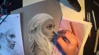 Time Lapse/Speed drawing - Daenerys Targaryen of Game of Thrones by Shawnna Timpanaro Black and White Charcoal on Grey Toned Paper Music - Game ...