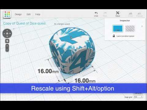 Preparing Dice model for dual extruder 3D printer (Replicator 2X)