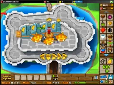 BTD5 Bloons Tower Defense 5 - Castle Hard - Track 8 Walkthrough - w/Commentary - NEW