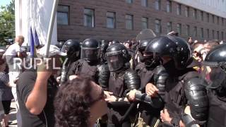 Hundreds of protesters marched on the Moldovan Parliament building in Chisinau, Thursday morning, to show their frustration ...