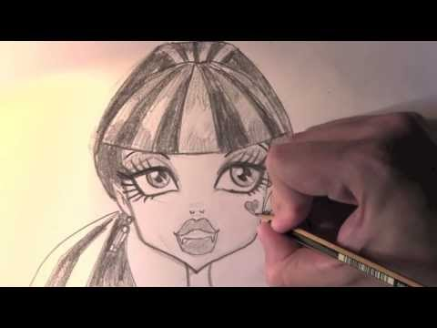 Draculaura Zeichnung von Monster High – ONLINE Zeichnen LERNEN